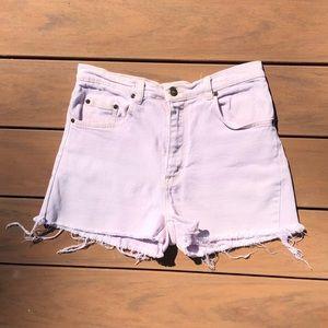 Pale Pink High Waist Cutoff Jean Shorts